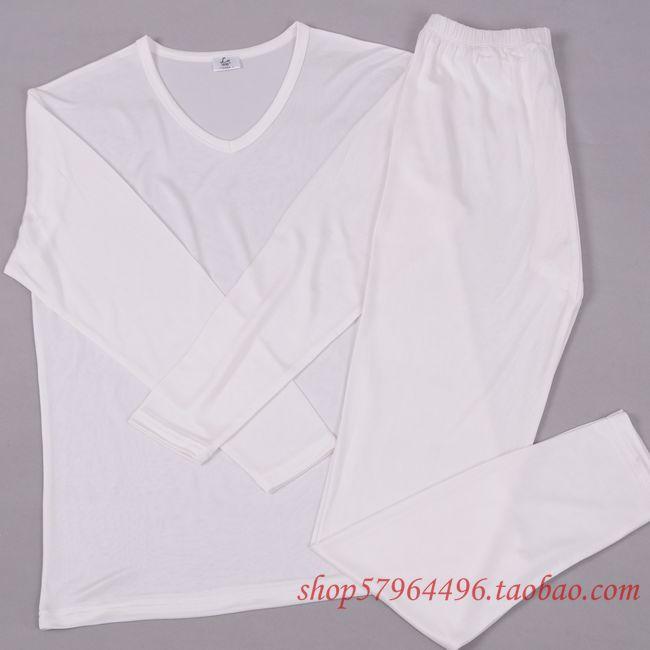 Male V-neck silk underwear set silk mulberry silk knitted basic long johns silk
