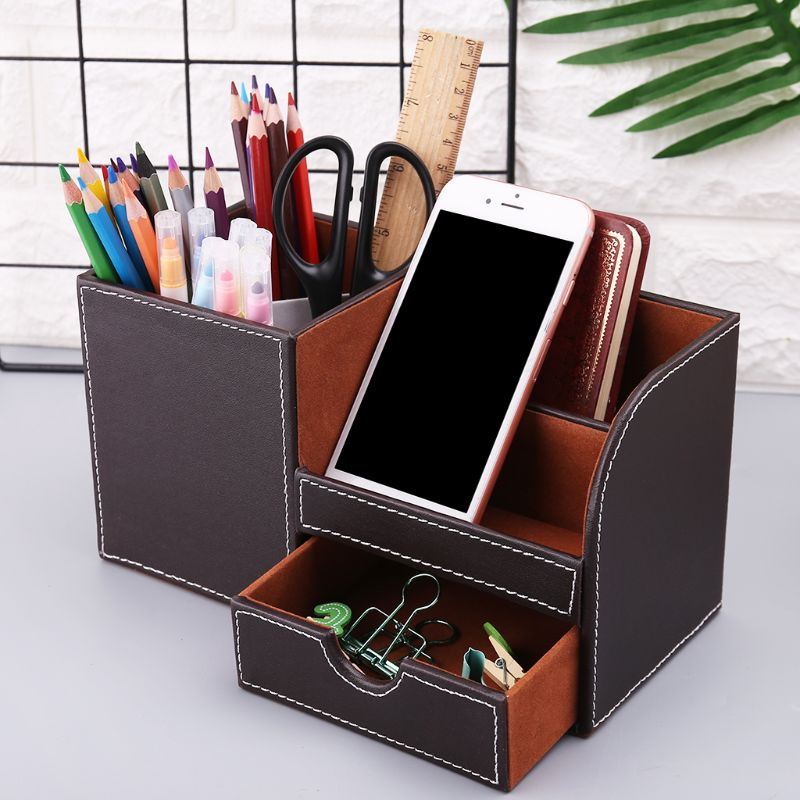 Leather Desk Stationery Box Organizer Office Desktop Storage Holder For Pen Pencil Remote Control Makeup Skin Care Container