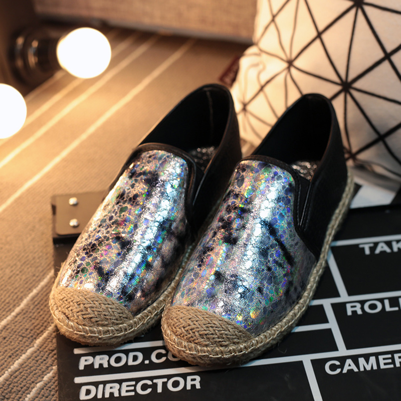 2016 Spring Summer font b Women b font Flat Shoes Sequins Style Loafers Shoes a Pedal