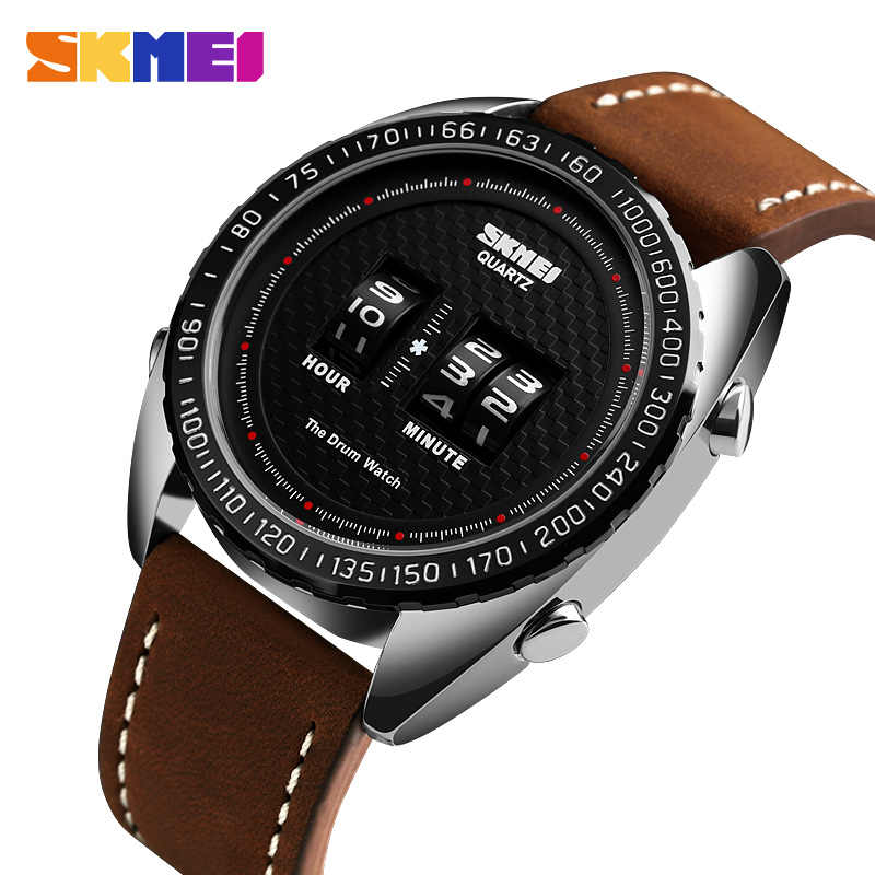 Mens Watches Outdoor Drum Casual Digital Watches Waterproof Sports Watches Men Leather Strap relogio masculino Top Brand SKMEI