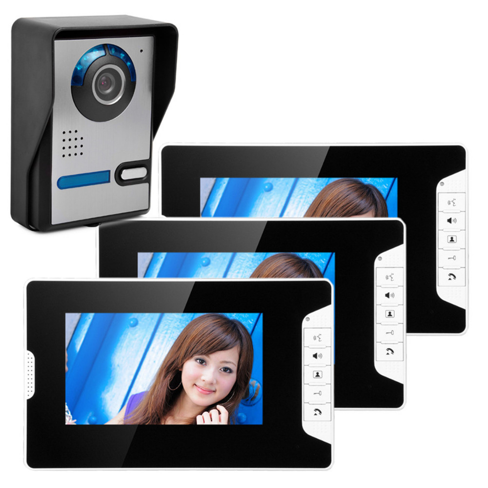 7 inch TFT LCD Video Door Phone Visual Video Intercom Speakerphone Intercom System +3 Monitor +1 Waterproof Outdoor IR Camera