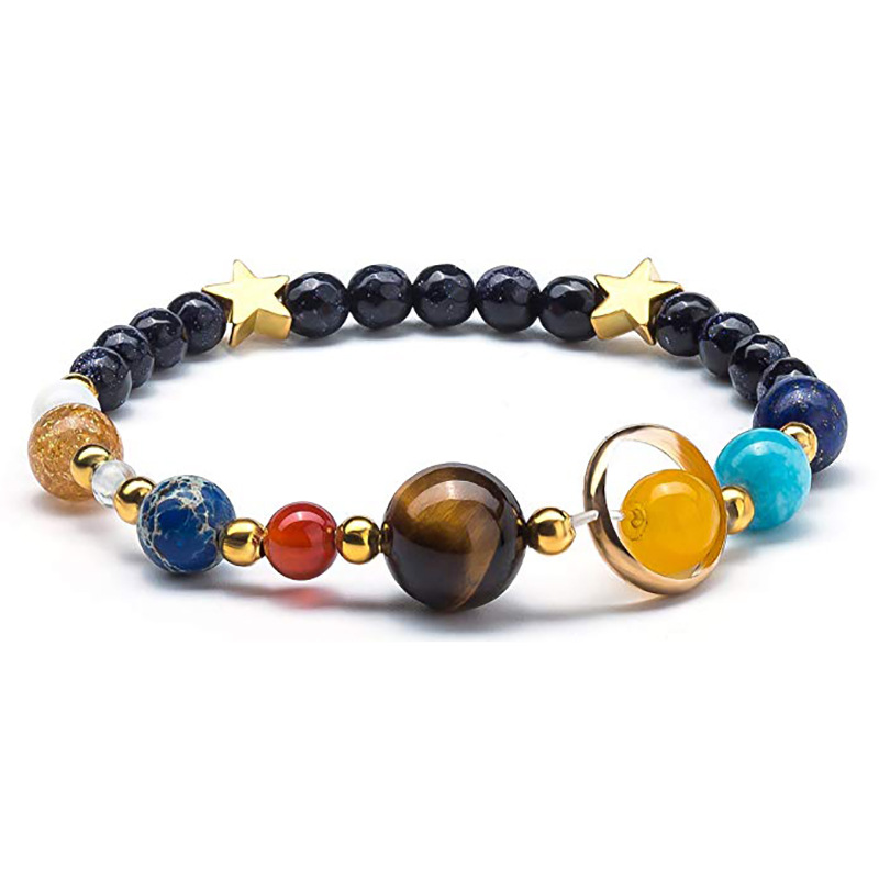 Natural Lava Lapis Stone Cosmic Galactic Solar System Eight Planets Bracelet For Women and Men Jewelry Free Shipping TR222