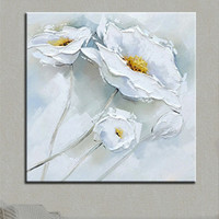 Hand painted White Flower Oil Painting Canvas Abstract Acrylic Floral Paintings Pallete Knife Picture Modern Home Decor Wall Art