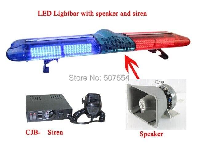 Dc12v,120cm led strobe emergency lightbar,warning lights+100w speaker+100w siren for police ambulance