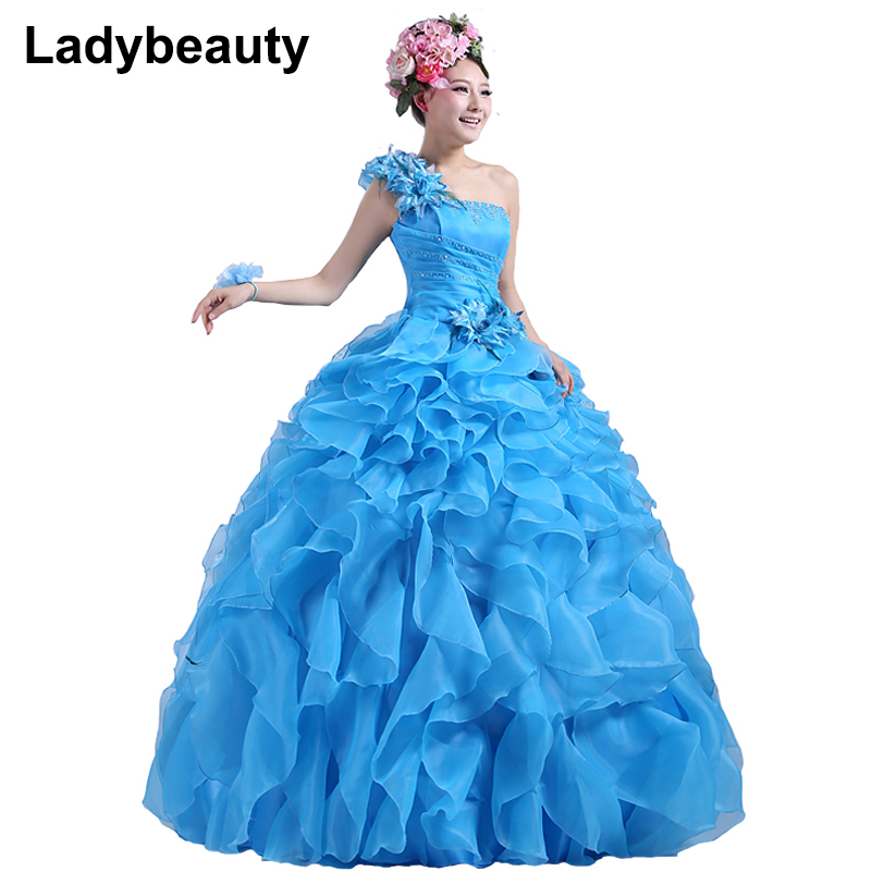 Ladybeauty 2019 New Colorful Organza A line Beading Ruched One Shoulder Wedding Dress Bride Beautiful lacing