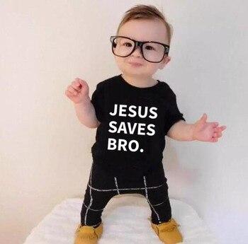 Jesus Saves Bro/детская футболка для малышей футболка с буквенным принтом, унисекс, для мальчиков и девочек, забавная Милая Детская летняя футболка, одежда