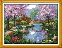Doreenbeads puentes Peach Blossom paisaje hermoso Telas artes 14ct punto de cruz bordado paño 1 Sets