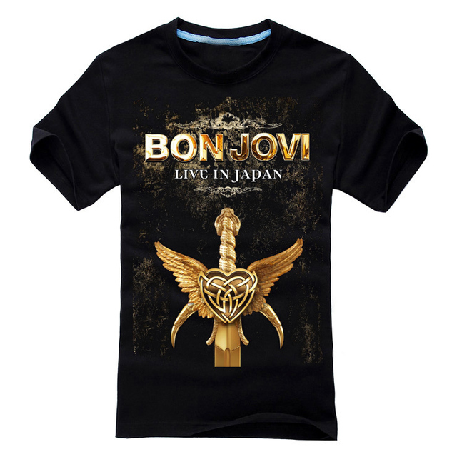 88cbdee5ead 27 designs Bon Jovi Punk Rock Rocker Black white T shirt 3D mma fitness  100%Cotton Heavy Metal print Tshirt XXL men women Sword