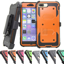 Armor Hybrid Holster Cases With 360 Degree Belt Clip Stand Heavy Duty Rugged Shockproof Hard Cover For Apple iPhone 7/7 Plus