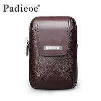 Padieoe Men S Genuine Leather Waist Pack Designer High Quality Waist Bags Vintage Belt Loop Pouch