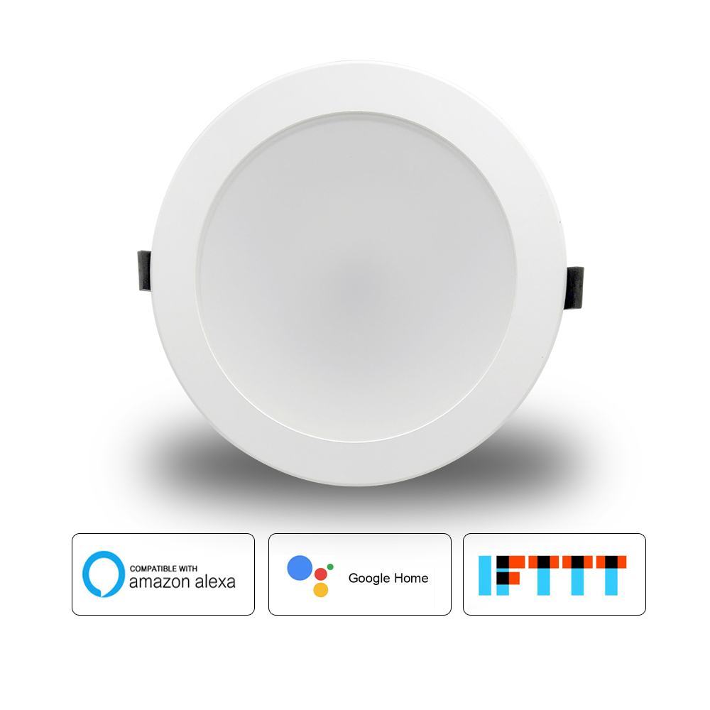 US $25 5 49% OFF  2018 Home Automation WiFi Bulb Led 6 inch Downlight 10w  Voice Control by Alexa Echo Dot Spot Show Google Home Assistant IFTTT-in