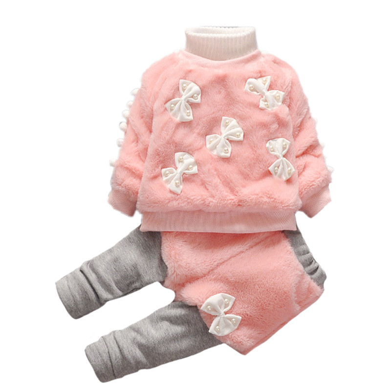 Thick Plush Girls Sets Autumn Winter Kids Clothes Fashion Pearls Bow-Knot Sweater+Pants Skirt 2Pcs Suit Baby Girls Clothing Sets girls cute knitted sweater with skirt kids set wear sweet style with bow knot for spring