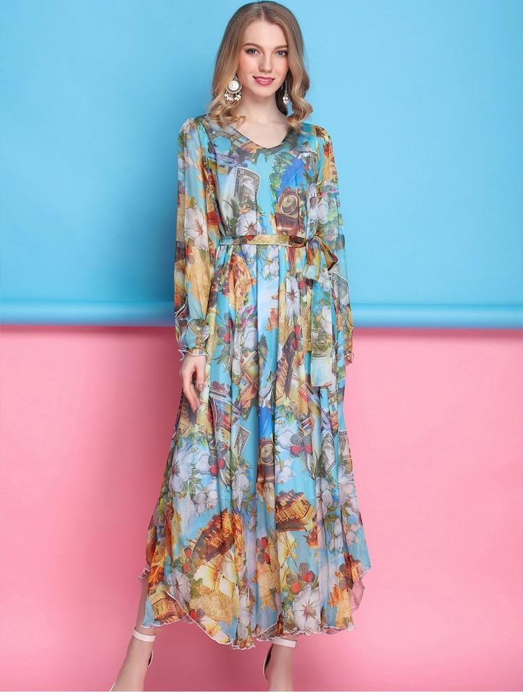2017 Floral Long Sleeved Boho Holiday Beach Oversize Maxi Dress Lightweight Wedding Guest Bridesmaid Sundress