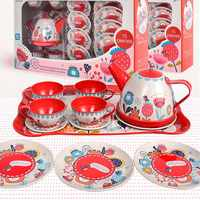 Metal Simulated Teapot Teacup British Style Afternoon Tea Tinplate Toys Pretend Play Toys For Kid Toys