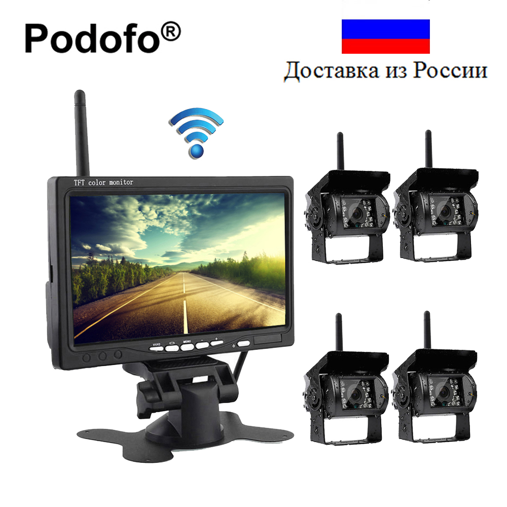 Podofo Wireless 4 Backup Cameras IR Night Vision Waterproof with 7 Rear View Monitor for RV Truck Bus Parking Assistance System wireless dual backup cameras parking assistance night vision waterproof rearview camera with 7 monitor for rv truck trailer bus