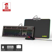 Semua Baru Ajazz 3 In 1 Programmable Antighost RGB Backlit Mechanical Gaming Keyboard mouse dan Mouse Pad Setelan Biru Sumbu(China)