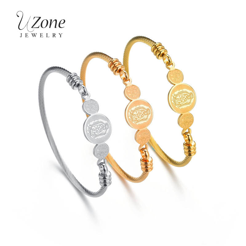 UZone Religious Virgin Mary Bracelets 3 Color Stainless Steel Cuff Bangles For Women Christian Jewelry Gift Pulsera Mujer