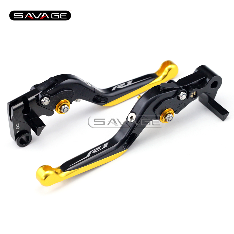 For YAMAHA YZF R1/R1M/R1S YZF-R1M YZFR1 2015-2016 Gold Motorcycle Adjustable Folding Extendable Brake Clutch Lever logo R1 r
