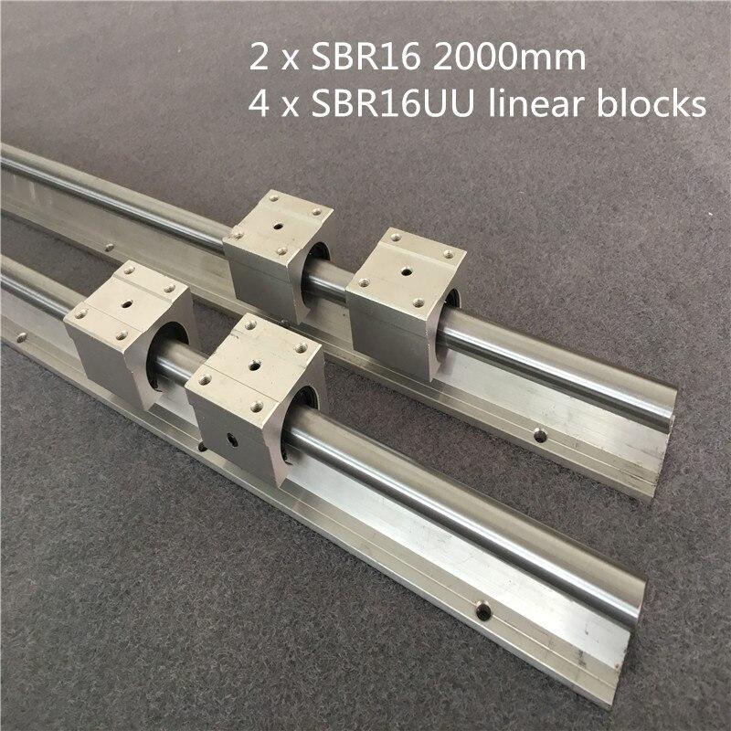2 ensemble SBR16 2000mm support de guidage linéaires + 4 pièces SBR16UU blocs linéaires roulement pour CNC rail linéaire