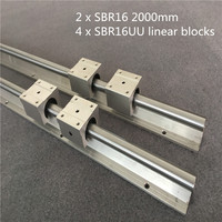 2set SBR16 2000mm support rail linear guide + 4pcs SBR16UU linear blocks beairng for CNC linear rail