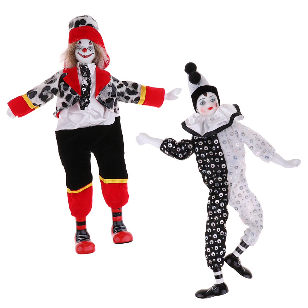 18cm Porcelain Clown Doll Comedian Dolls Model Party Ornament Kids