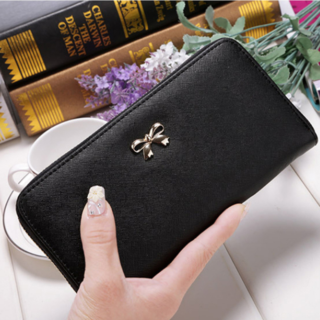 New PU Leather Cards Holder Women Wallet Long
