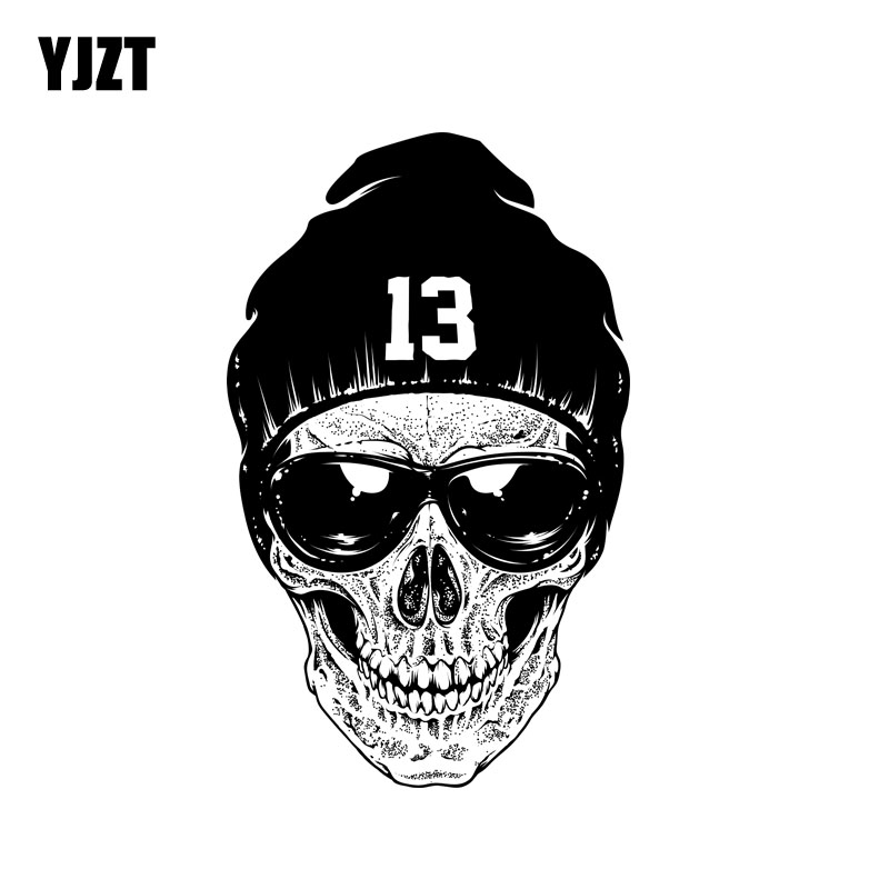 YJZT 9CM*14.4CM Personality Hand Painted Skull Funny Decal Car Body Accessories Sticker 6-2315