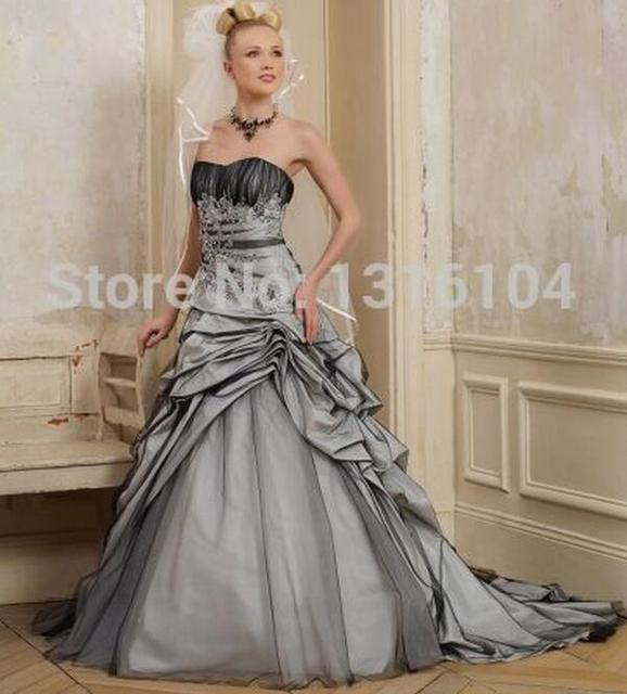 53961dad2e21e03 2014 Cheap Puffy Black And White Two Tone Princess Long Tulle Sweetheart  Girls Lace Up Wedding