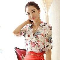 Blume Gedruckt Dame Fashion Chiffon Shirts Plus Größe S-2XL Neue Koreanische Elegante Frauen Casual Marke Lose Bluse