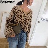 BeAvant V neck leopord print women knitted sweater female Loose long sleeve winter sweater pullover 2018 Knit short jumper pull