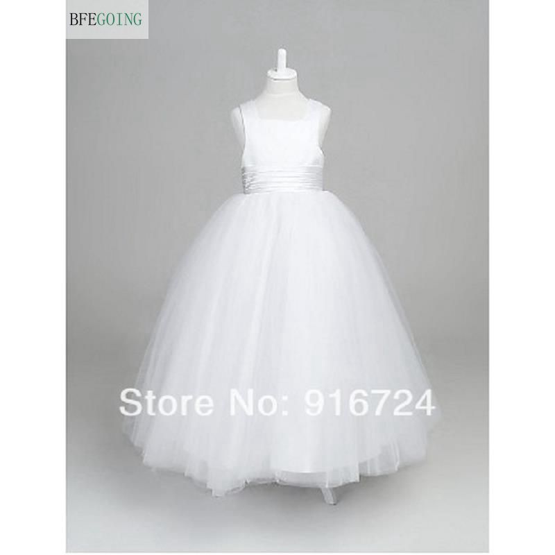 A-line Square Ankle-length Satin And Tulle Wedding/Party   Flower     Girl     Dress  (More Colors)