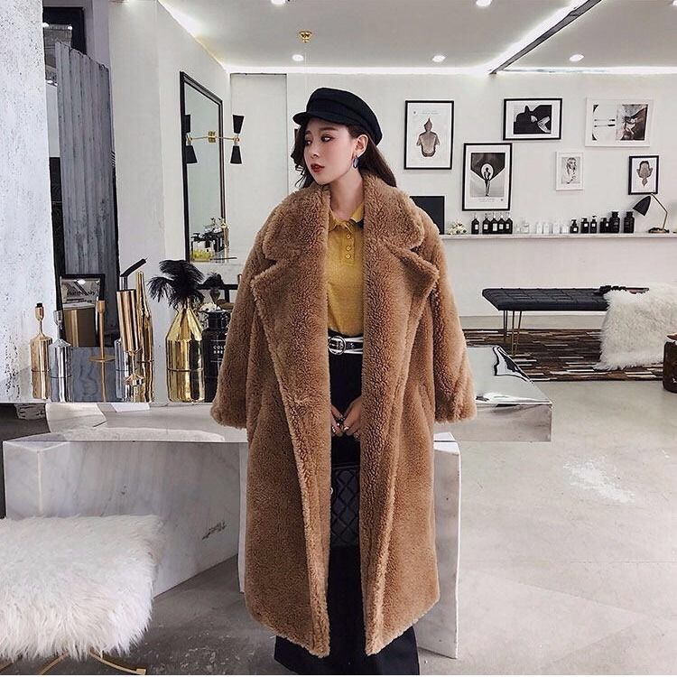 2019 New Coat Faux Fur Long Coat Women Lamb Fur Coat Fake Fur Thick Warm Curly Teddy Coat New Collection Winter Female Clothes