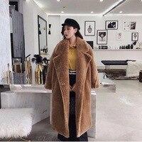 2019 New Coat Faux Fur Long Coat Women Lamb Fur Coat Fake Fur Thick Warm Curly Teddy Coat New Collection Winter Female Clothes