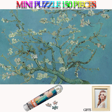 MOMEMO Abstract Blue Peach Tree Jigsaw Puzzles 150 Pieces Paper Puzzle Adults Old Master Toys with Photo Frame