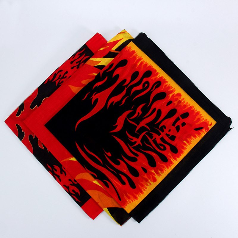 Men Boy Wome Hip Hop Square   Scarf   Kerchief Fire Flames Print Bandana   Scarves   Headband Neck Wrist   Wrap   Band Headtie Square   Scarf