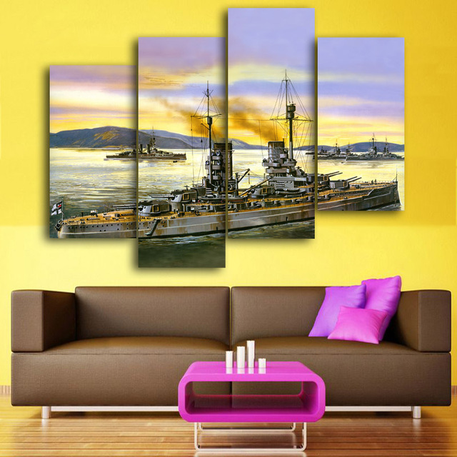2017 4 Panel Vintage Sailing Ship Painting Wall Art Home Decoration ...