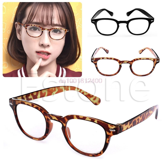 Retro Reading Eyeglasses Round Frame Rimed Reading Glasses Eyeglasses Leopard-print Black 100~400
