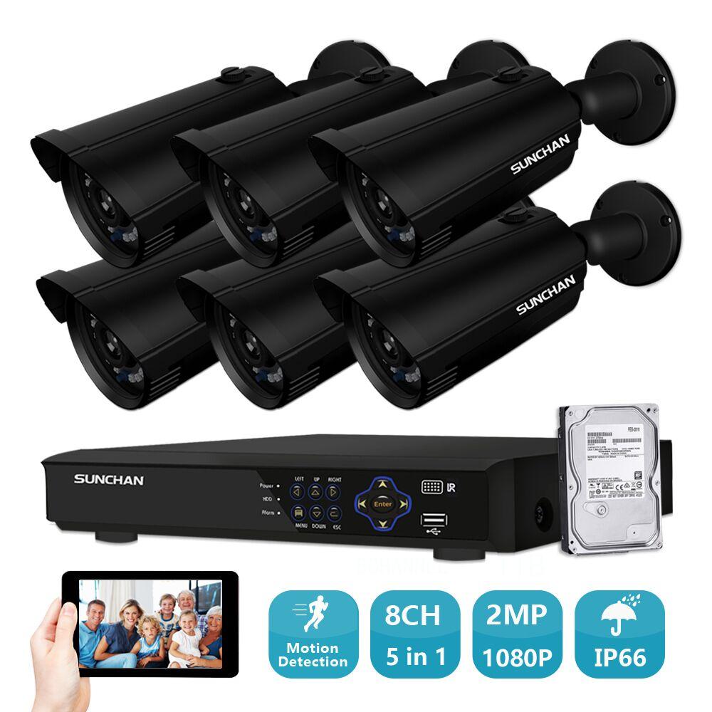 8CH CCTV System 6PCS 1920TVL font b Outdoor b font Weatherproof Security Camera 8CH 1080P DVR