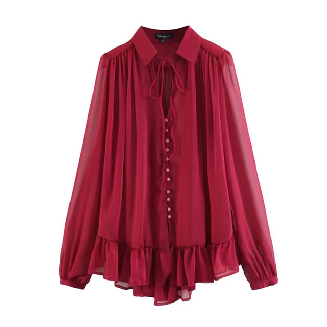 f47b9fd5c8f womens tops and blouses shirts lace up elegant bow mesh long sleeve blouse  turn down collar