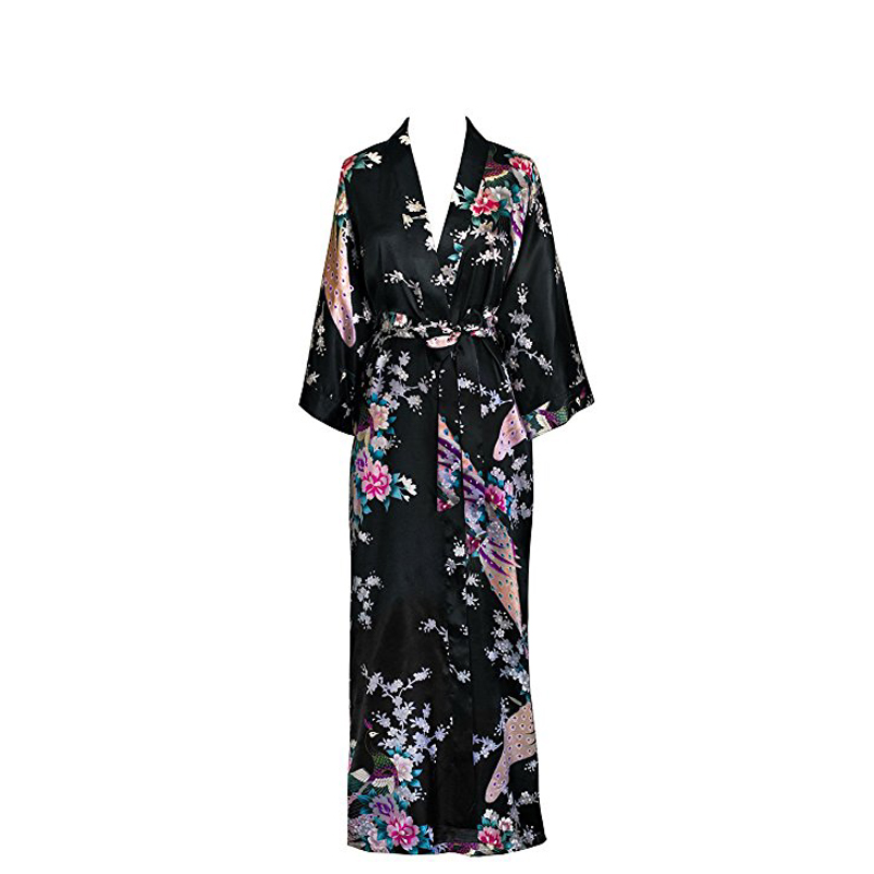 Chinese Women s Kimono Long Robe Peacock   Blossoms Brand New Designer  Wedding Robe Sexy Sleepwear Flower Nightgown D128 06-in Robes from  Underwear ... cd491d991