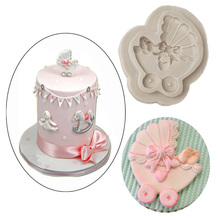 Silicone Fondant Cake Mold Baby Carriage Shape Decoration Baking Tools Candy