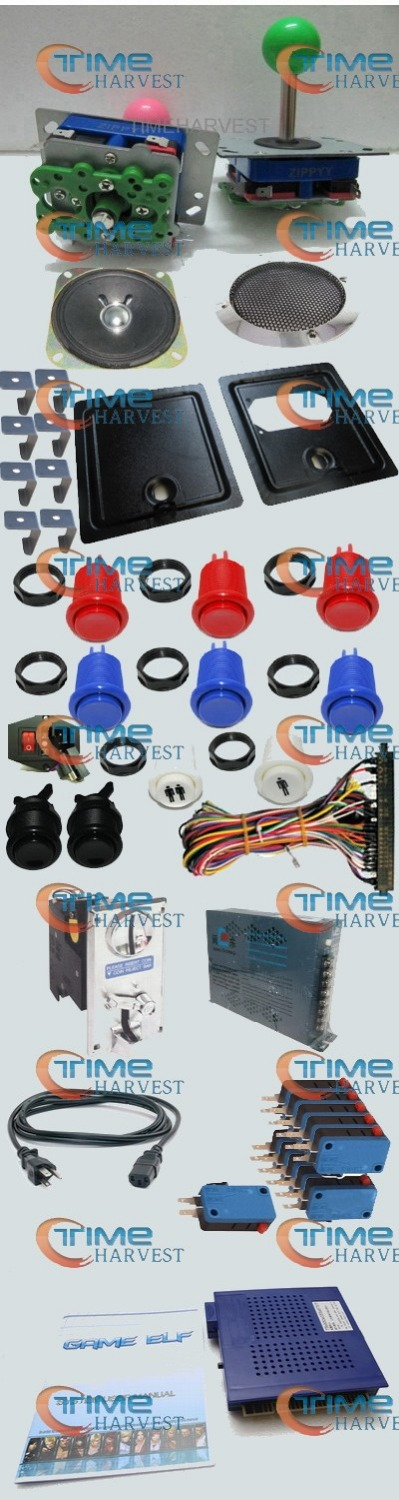 Arcade parts Bundles with 412 in 1 game elf coin door long shaft Joystick Silver coin acceptor button Jamma Harness Power supply sanwa button and joystick use in video game console with multi games 520 in 1