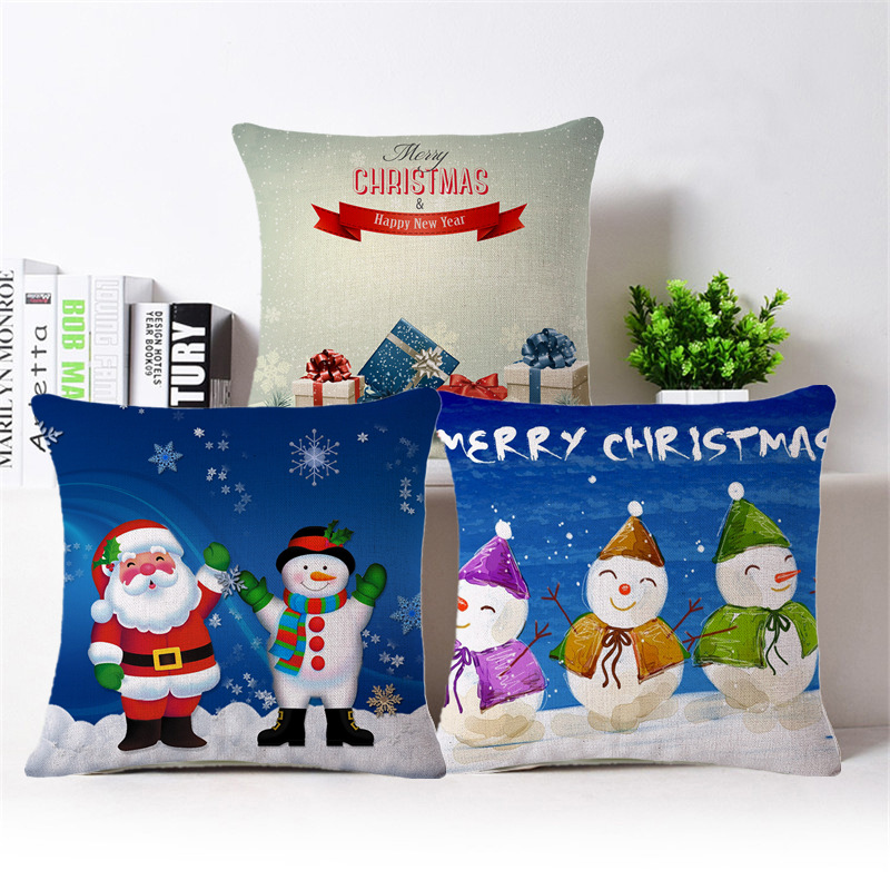 2017 Christmas Decorations For Home Pillowcase Decoration Vintage Christmas Sofa Bed Home Decor Pillow Case Cushion