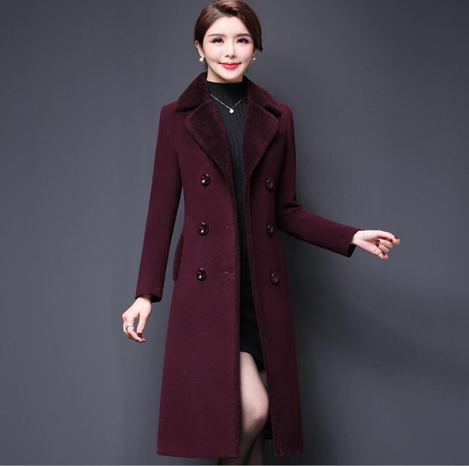 Élégante Mode Manteau longueur Hiver Veste Automne Mi Chaud Cachemire Taille Femmes Épais Grande De Coffee Laine purple 2018 R531 Mélanges wXqO7B7