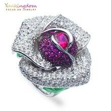 Yunkingdom Vintage Flower Кольца для женщин anillos Анель юбилей кольцо M0369
