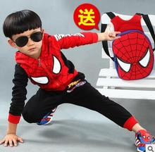 2016 new spring autumn baby boys Spiderman suit 100% cotton children's clothing coat + pants + backpack  3pcs/sets Free shipping