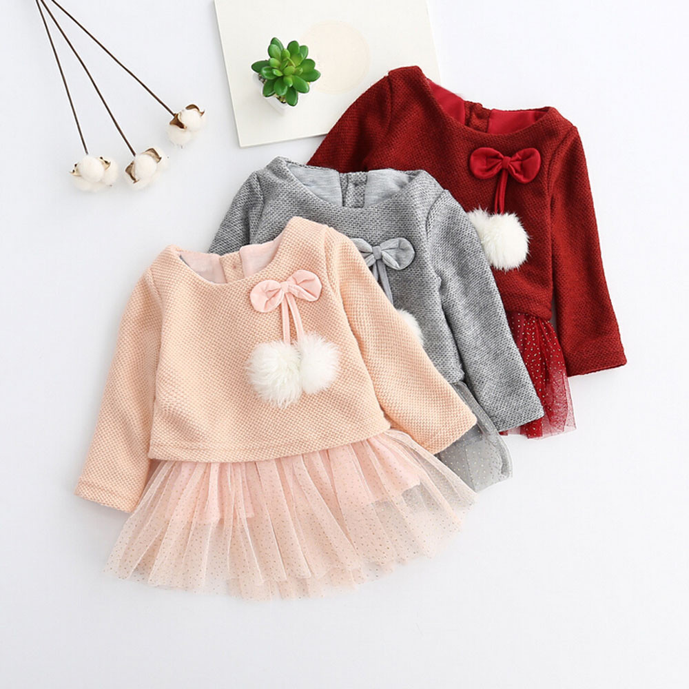 Princess-Dress Long-Sleeve Toddler Winter Knitted Newborn Girls Infantil Baby Kid 0-24M