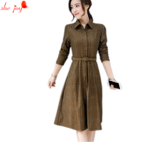 Female Knee Length Plaid Dress Women S Gown With Sash Check Decent Women Dress Long Sleeve