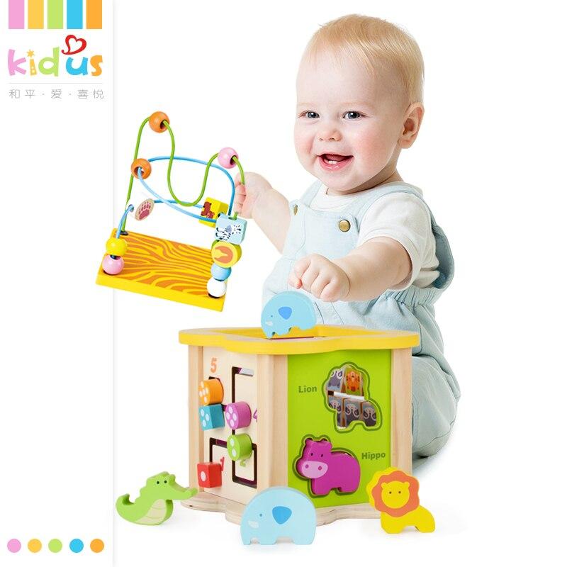 Kidus Puzzle éducatif en bois boîte à jouets Montessori pour enfants livraison gratuite classique Multi forme trieur bloc pour enfants