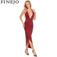 FINEJO Women Sexy Plunging Neck Halter Backless Ruched Split Side Solid Party Midi Dress 2018 Summer